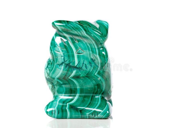 Macro hibou en pierre minéral de malachite image stock