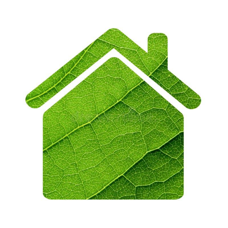 Icône verte de maison de feuille. images libres de droits