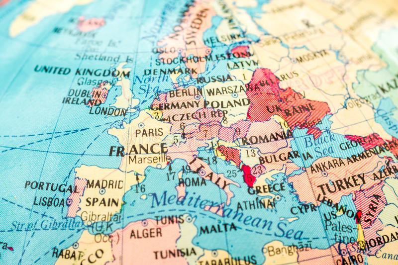 Macro image of a Map of Europe stock photography