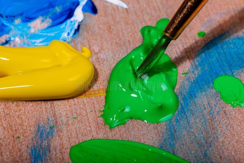 Macro immagini delle setole della spazzola di un artista che è caricata con la pittura verde da un pallete immagini stock libere da diritti