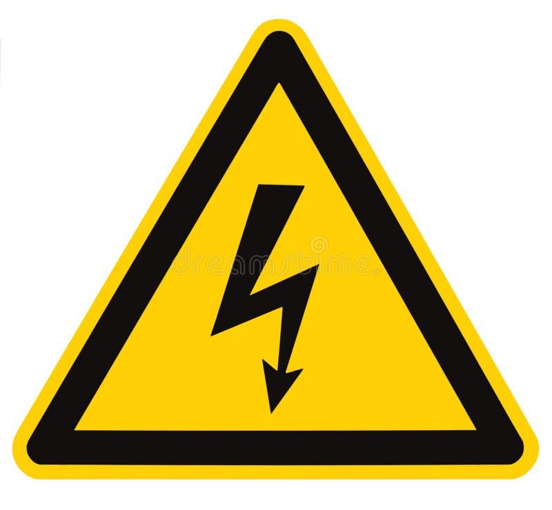 Macro isolata segno ad alta tensione di rischio elettrico immagini stock