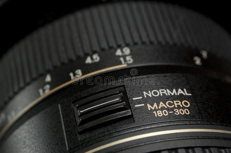 Macro of lens. High resolution macro image of a macro telephoto lens. Differential focus on the selector switch and text stock photo