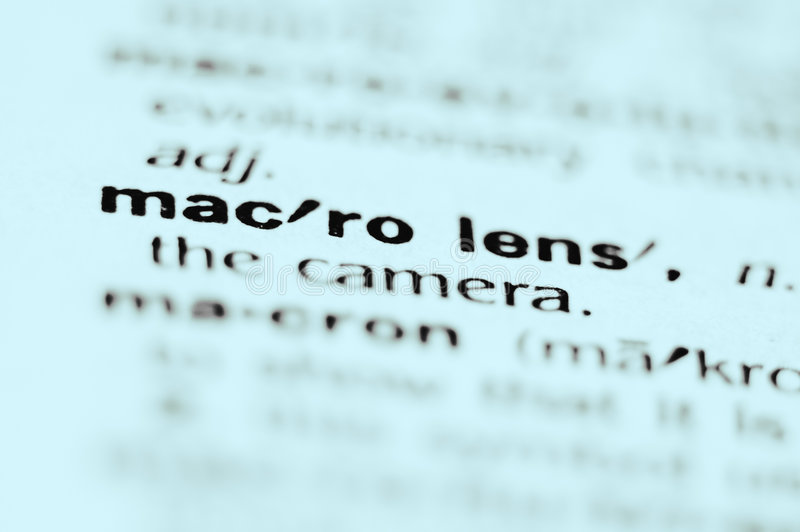 Macro Lens. Extreme macro or close up of the words MACRO LENS. Very shallow depth of field is intentional and shows only the words macro lens in focus royalty free stock photography