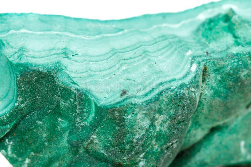 Macro malachite di pietra minerale nella roccia su un fondo bianco fotografia stock libera da diritti