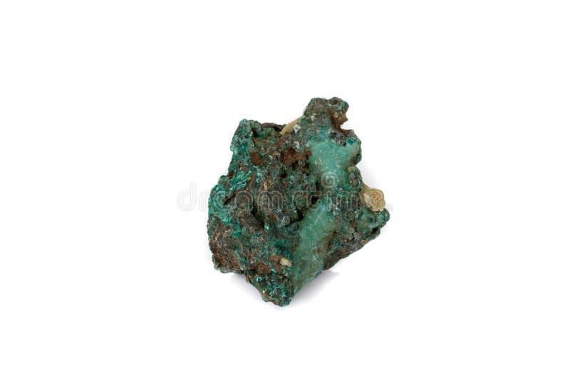 Macro malachite en pierre minérale sur le fond blanc photographie stock