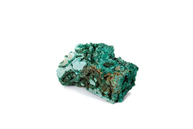 Macro malachite en pierre minérale sur le fond blanc image libre de droits