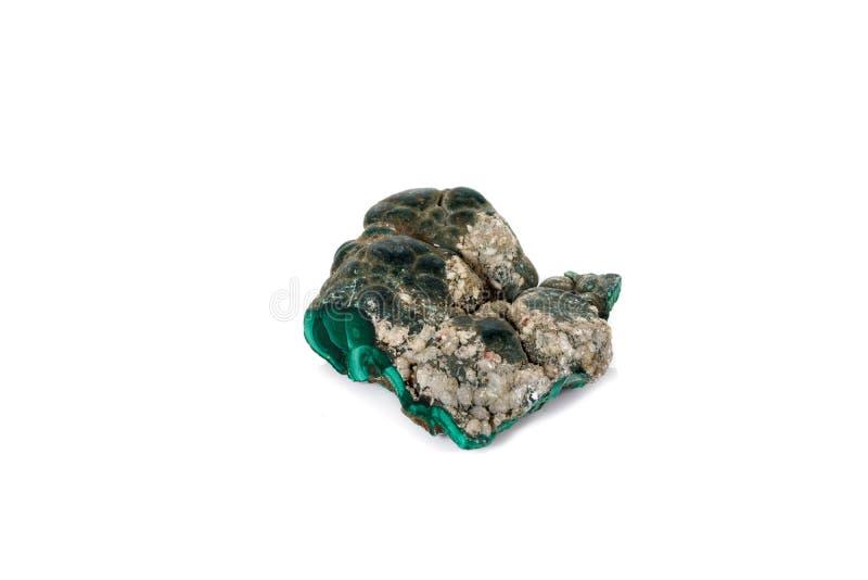 Macro malachite en pierre minérale sur le fond blanc image stock