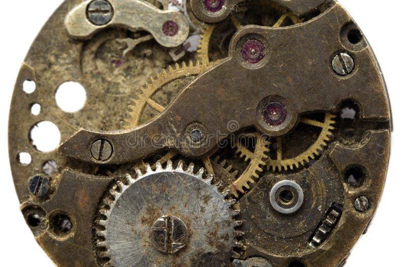 Macro mechanical gear background. Vintage old clockwork isolated on the white background. Macro mechanical gear background royalty free stock image