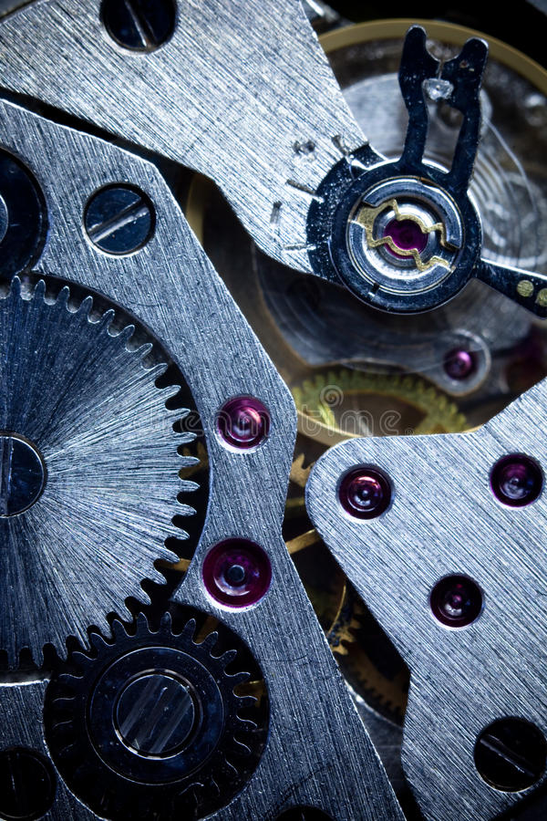 Macro Mechanical Gear / Clockwork Background stock photo