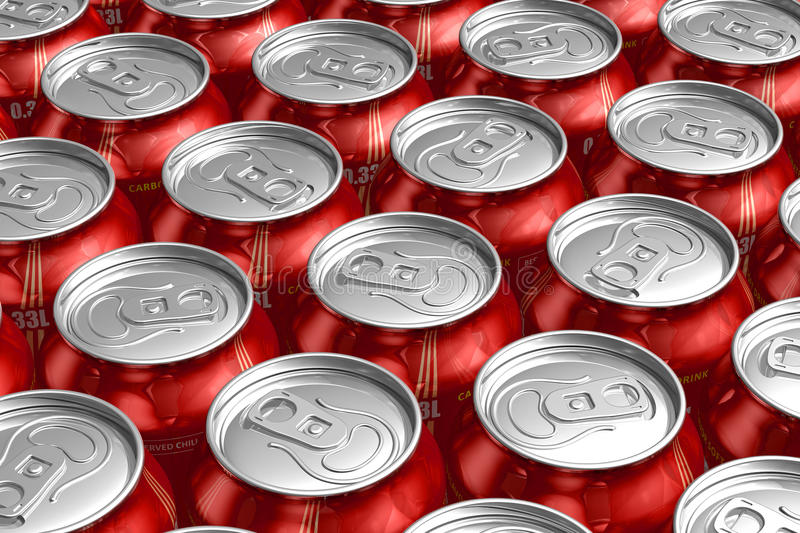 Download Macro Of Metal Cans With Refreshing Drinks Stock Illustration - Image: 18944089