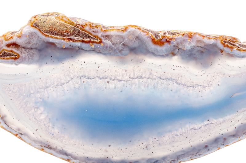 Macro mineral stone agate on a white background. Close up royalty free stock images