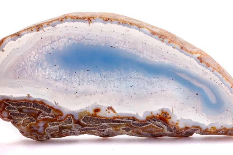 Macro mineral stone agate on a white background. Close up stock photography