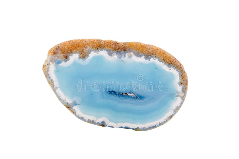 Macro mineral stone agate on a white background. Close up stock photo