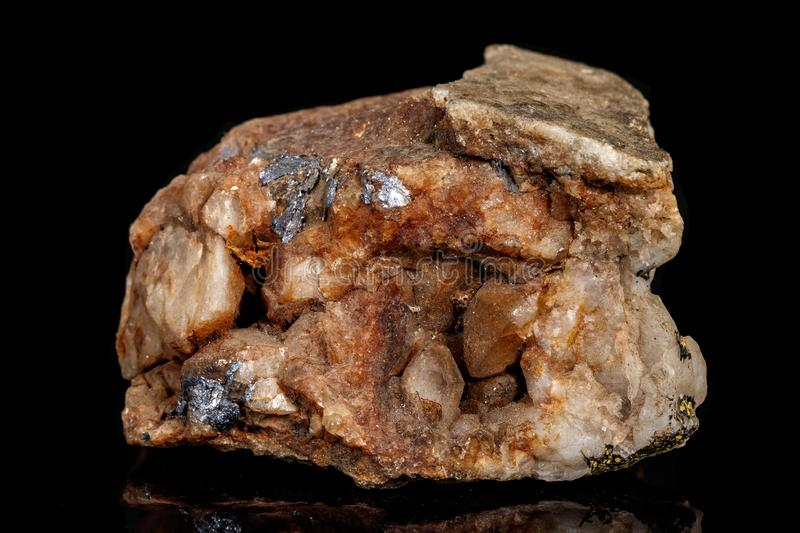 Macro of a mineral stone Boulangerite on a black background royalty free stock photo