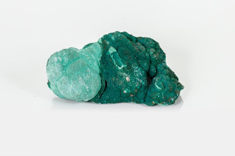 Macro mineral stone Malachite against white background. Close up stock image
