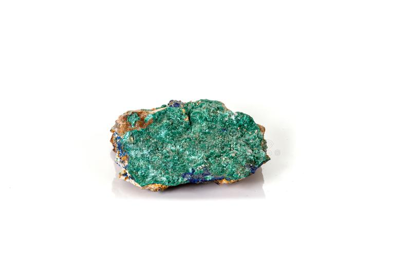 Macro mineral stone Malachite and Azurite against white background. Close up royalty free stock photography