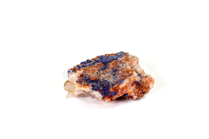 Macro mineral stone Malachite and Azurite against white background. Close up stock image
