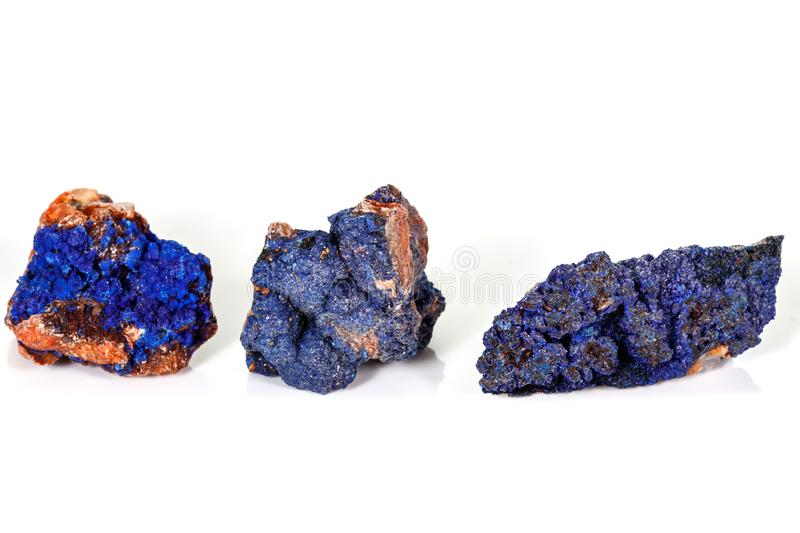 Macro mineral stone Malachite and Azurite against white background. Close up royalty free stock photo