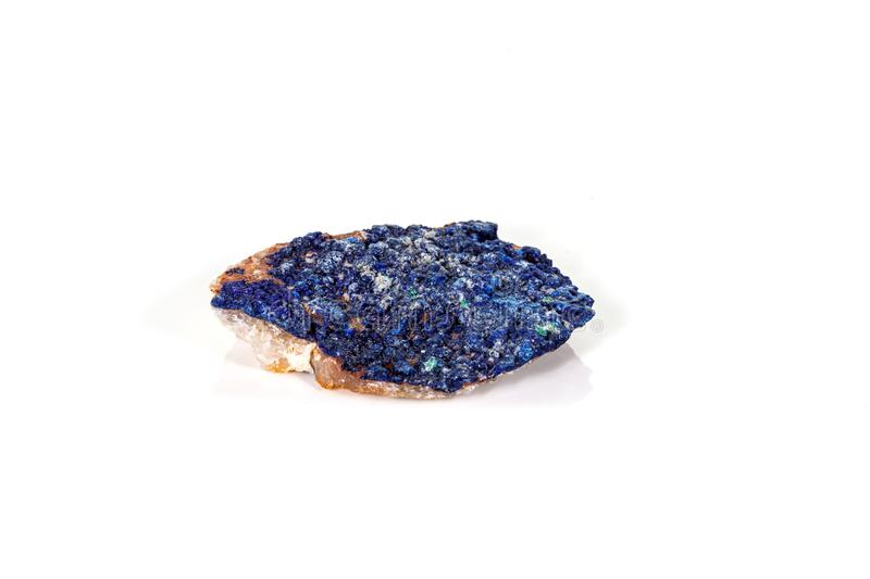 Macro mineral stone Malachite and Azurite against white background. Close up stock photo