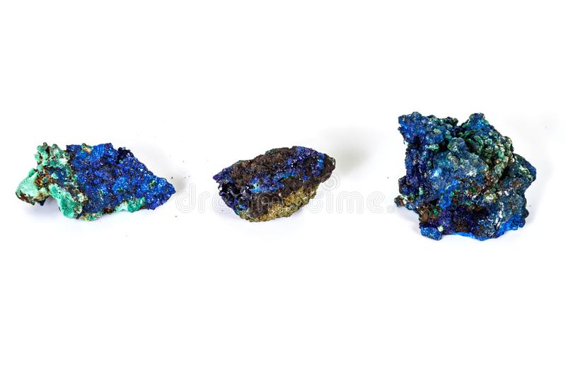 Macro mineral stone Malachite and Azurite against white background. Close up stock photos