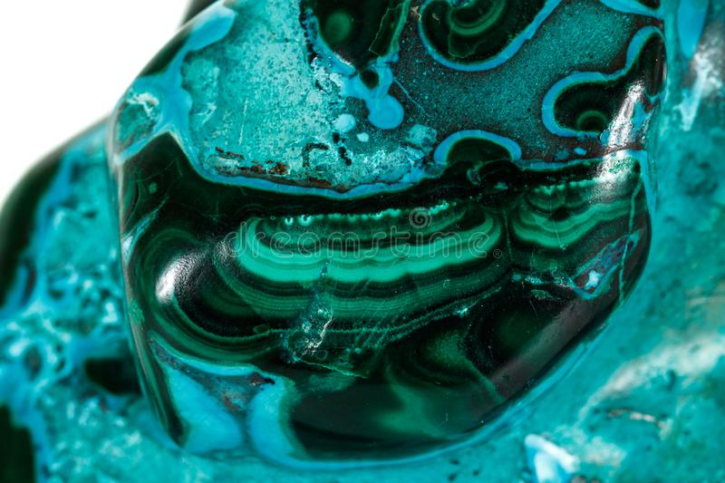 Macro mineral stone malachite Chrysocolla on a white background. Close up stock photos