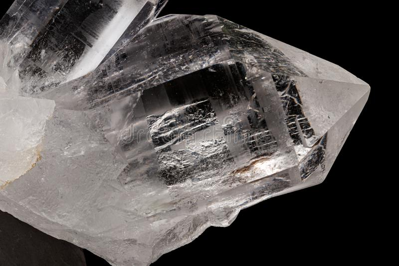 Macro mineral stone rhinestone, rock crystal on a black background. Close up royalty free stock photography