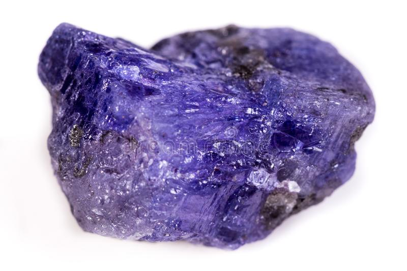 Macro mineral stone Tanzanite on white background stock images