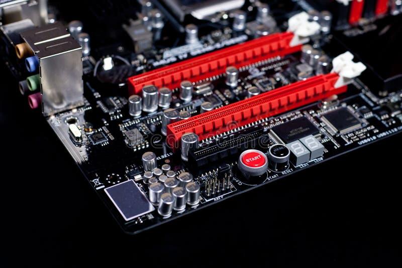 Macro moderno do cartão-matriz do PC imagens de stock