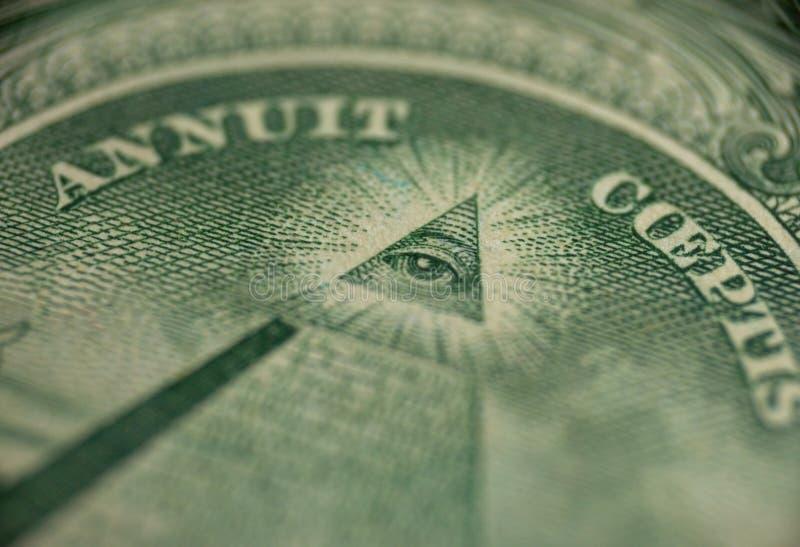 Macro of one dollar stock image