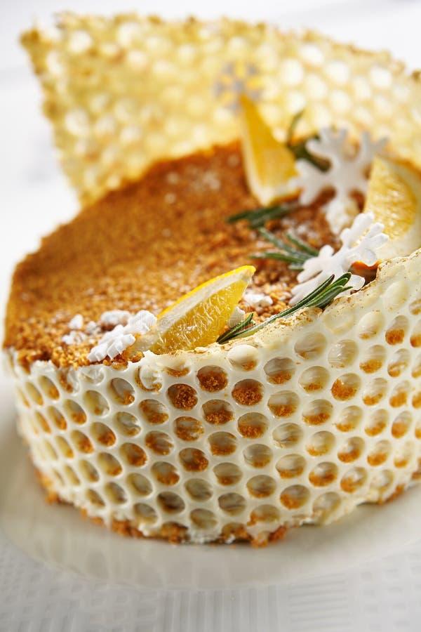 Macro Photo of Christmas Honey Cake on Blurred Background stock photos