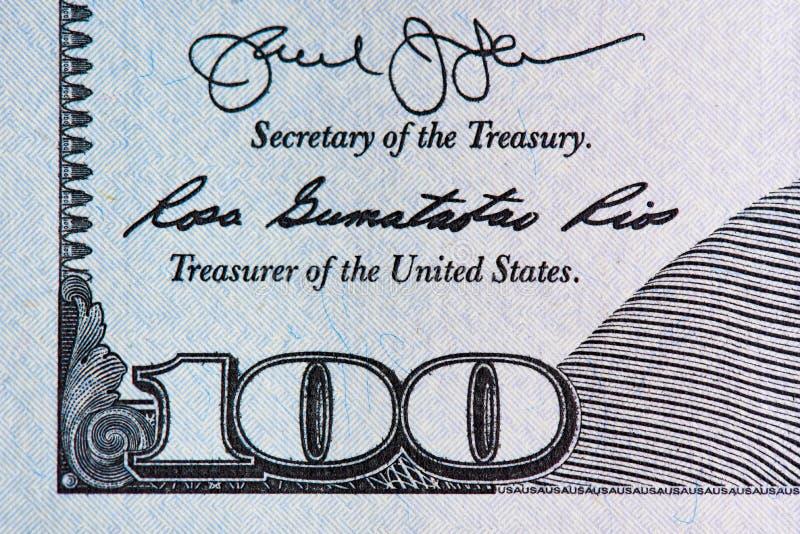 Macro photo details one hundred dollars bill. Macro details one hundred dollars bill royalty free stock photo