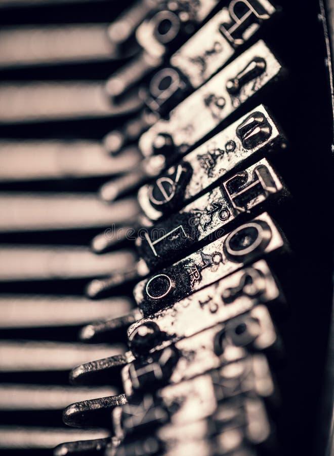 Macro photo of old typewriter. Low depth of focus stock photos