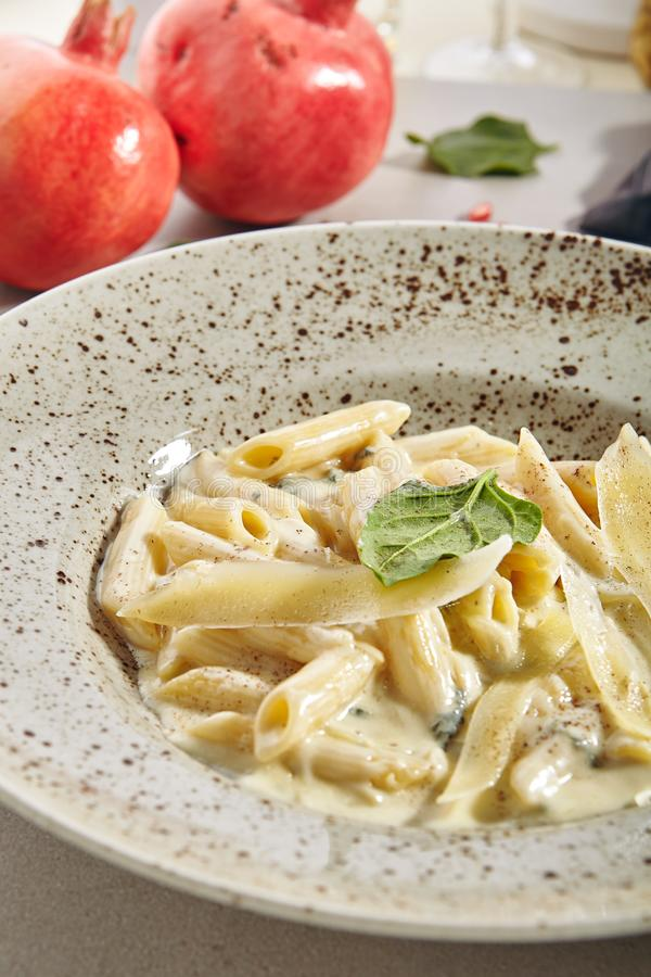 Macro Photo of Penne Rigate 4 Cheeses Italian Pasta stock image