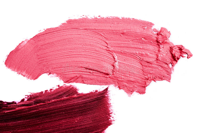 Macro photo of pink and purple smeared Lipstick royalty free stock images