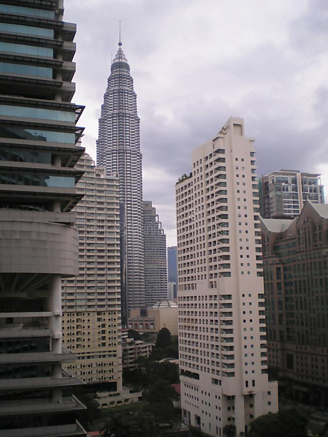 Macro photo urban landscape of modern high-rise buildings in the Malaysian capital Kuala Lumpur. As the source for design, advertising, prints, posters stock photo