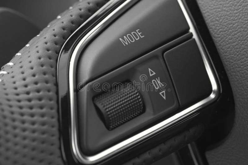 Macro Photograph of steering wheel control buttons stock photos