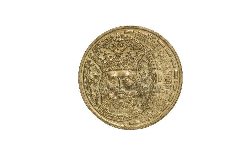 Macro photographie d'une pièce de monnaie aniversary roumaine image stock