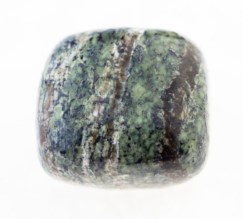 polished chrysotile asbestos stone on white stock photos