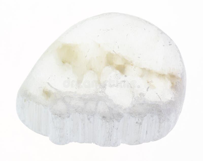 polished Ulexite (TV rock) stone on white stock photos