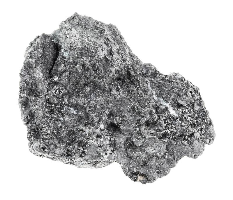 Rough Graphite stone on white. Macro photography of natural mineral from geological collection - rough Graphite stone on white background royalty free stock photo