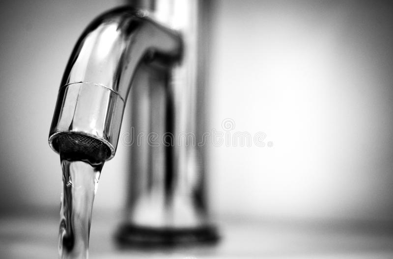 Macro Photography of a Stainless Steel Faucet stock image