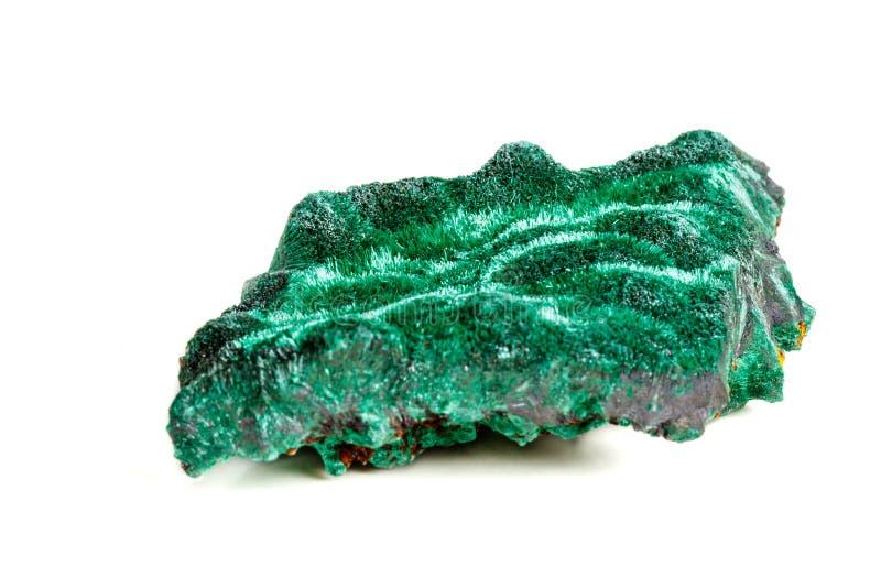 Macro pierre minérale plisoviy, peluche, malachite de satin sur un blanc image libre de droits