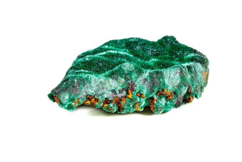 Macro pierre minérale plisoviy, peluche, malachite de satin sur un blanc photographie stock libre de droits