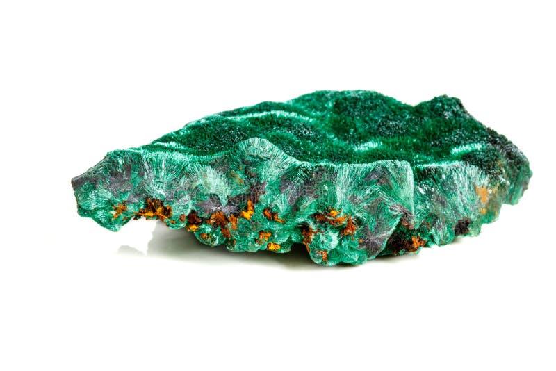 Macro pierre minérale plisoviy, peluche, malachite de satin sur un blanc images libres de droits