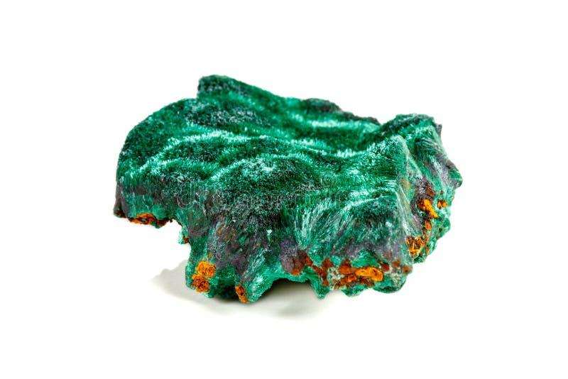 Macro pierre minérale plisoviy, peluche, malachite de satin sur un blanc photographie stock