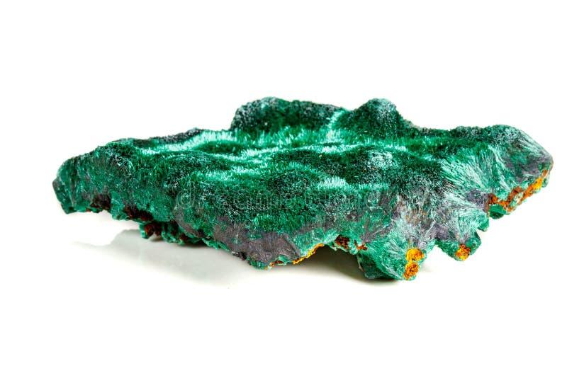 Macro pierre minérale plisoviy, peluche, malachite de satin sur un blanc photos stock