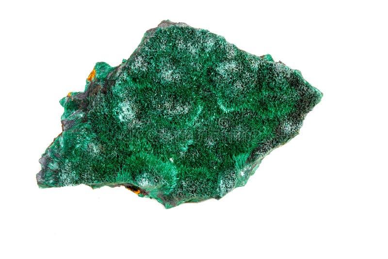 Macro pierre minérale plisoviy, peluche, malachite de satin sur un blanc image stock
