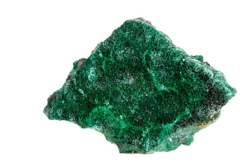Macro pierre minérale plisoviy, peluche, malachite de satin sur un blanc photo stock