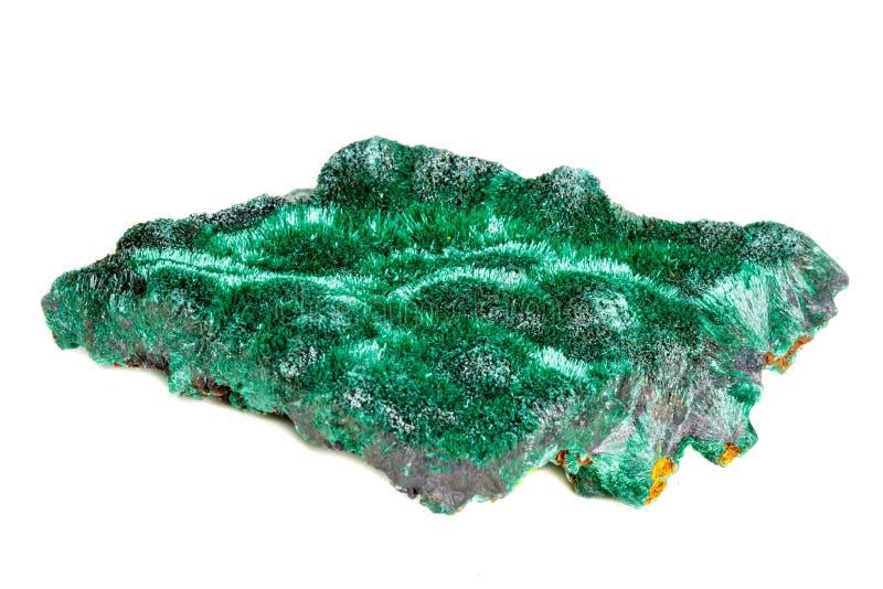 Macro pierre minérale plisoviy, peluche, malachite de satin sur un blanc images stock