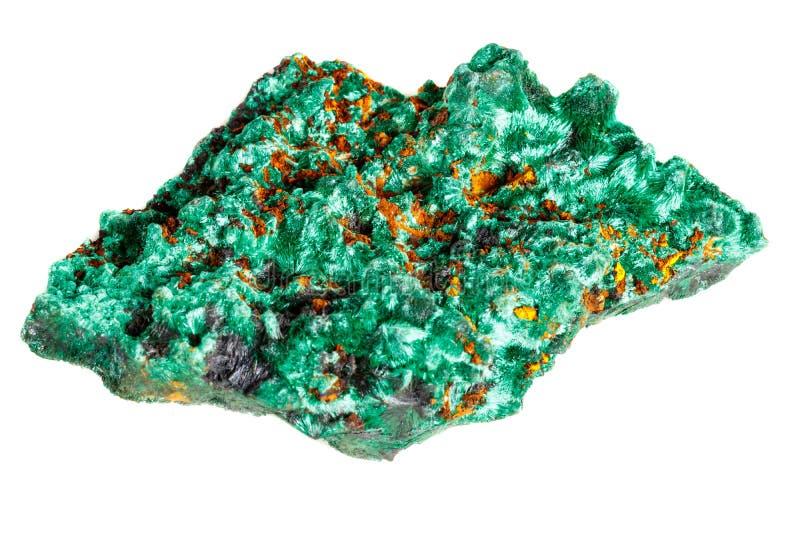 Macro pierre minérale plisoviy, peluche, malachite de satin sur un blanc photos libres de droits
